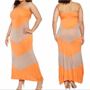 Plus Size Strapless Chevron Dress 2X 3X NWT
